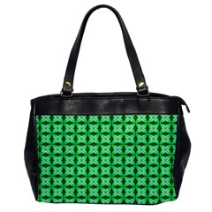 Green Abstract Tile Pattern Oversize Office Handbag (one Side) by creativemom