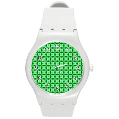 Green Abstract Tile Pattern Plastic Sport Watch (medium) by creativemom