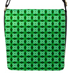 Green Abstract Tile Pattern Flap Closure Messenger Bag (small) by creativemom