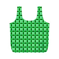 Green Abstract Tile Pattern Reusable Bag (m) by creativemom