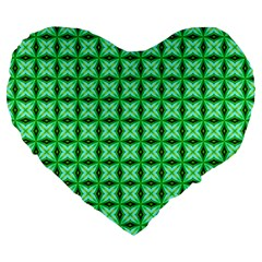 Green Abstract Tile Pattern 19  Premium Flano Heart Shape Cushion by creativemom