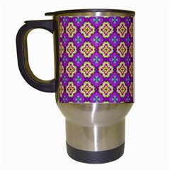 Purple Decorative Quatrefoil Travel Mug (white) by creativemom