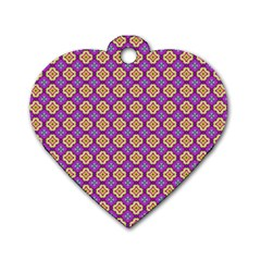 Purple Decorative Quatrefoil Dog Tag Heart (one Sided)  by creativemom