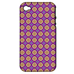Purple Decorative Quatrefoil Apple Iphone 4/4s Hardshell Case (pc+silicone) by creativemom