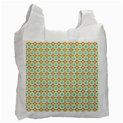 Aqua Mint Pattern White Reusable Bag (one Side) by creativemom