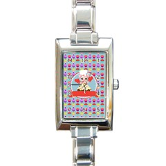 Cupcake With Cute Pig Chef Rectangular Italian Charm Watch by creativemom
