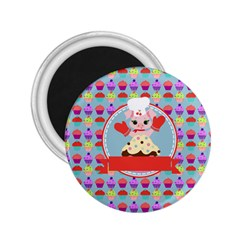 Cupcake With Cute Pig Chef 2 25  Button Magnet by creativemom