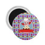 Cupcake with Cute Pig Chef 2.25  Button Magnet