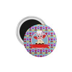 Cupcake With Cute Pig Chef 1 75  Button Magnet by creativemom