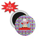 Cupcake with Cute Pig Chef 1.75  Button Magnet (10 pack)