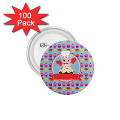 Cupcake With Cute Pig Chef 1 75  Button (100 Pack) by creativemom