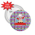 Cupcake with Cute Pig Chef 2.25  Button (100 pack)
