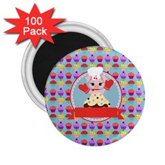 Cupcake With Cute Pig Chef 2 25  Button Magnet (100 Pack) by creativemom