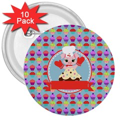 Cupcake With Cute Pig Chef 3  Button (10 Pack) by creativemom