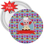Cupcake with Cute Pig Chef 3  Button (10 pack)
