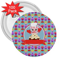 Cupcake With Cute Pig Chef 3  Button (100 Pack) by creativemom
