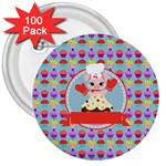 Cupcake with Cute Pig Chef 3  Button (100 pack)