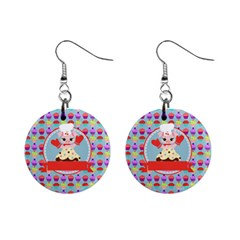 Cupcake With Cute Pig Chef Mini Button Earrings by creativemom