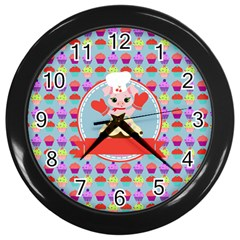 Cupcake With Cute Pig Chef Wall Clock (black) by creativemom