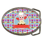 Cupcake with Cute Pig Chef Belt Buckle (Oval)