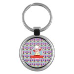 Cupcake with Cute Pig Chef Key Chain (Round)
