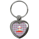 Cupcake with Cute Pig Chef Key Chain (Heart)
