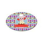 Cupcake with Cute Pig Chef Sticker (Oval)