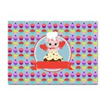 Cupcake with Cute Pig Chef A4 Sticker