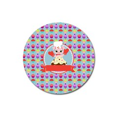 Cupcake With Cute Pig Chef Magnet 3  (round) by creativemom