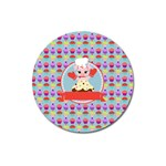 Cupcake with Cute Pig Chef Magnet 3  (Round)