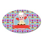 Cupcake with Cute Pig Chef Magnet (Oval)