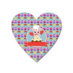 Cupcake with Cute Pig Chef Magnet (Heart) by creativemom