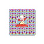 Cupcake with Cute Pig Chef Magnet (Square)