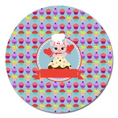 Cupcake With Cute Pig Chef Magnet 5  (round) by creativemom