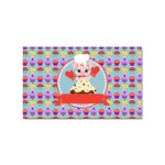 Cupcake with Cute Pig Chef Sticker 100 Pack (Rectangle)