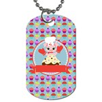 Cupcake with Cute Pig Chef Dog Tag (Two-sided)