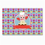 Cupcake with Cute Pig Chef Postcard 4 x 6  (10 Pack)