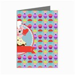 Cupcake with Cute Pig Chef Mini Greeting Card
