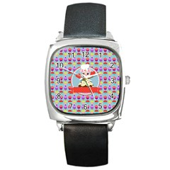 Cupcake With Cute Pig Chef Square Leather Watch by creativemom