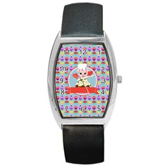 Cupcake With Cute Pig Chef Tonneau Leather Watch by creativemom