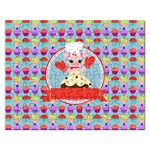 Cupcake with Cute Pig Chef Jigsaw Puzzle (Rectangle)