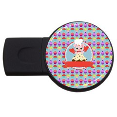 Cupcake With Cute Pig Chef 4gb Usb Flash Drive (round) by creativemom
