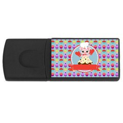 Cupcake With Cute Pig Chef 4gb Usb Flash Drive (rectangle) by creativemom