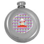 Cupcake with Cute Pig Chef Hip Flask (Round)