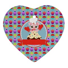 Cupcake With Cute Pig Chef Heart Ornament (two Sides) by creativemom