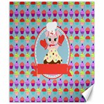 Cupcake with Cute Pig Chef Canvas 8  x 10  (Unframed)