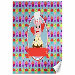 Cupcake With Cute Pig Chef Canvas 12  X 18  (unframed) by creativemom