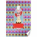Cupcake with Cute Pig Chef Canvas 12  x 18  (Unframed)