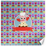 Cupcake with Cute Pig Chef Canvas 16  x 16  (Unframed)