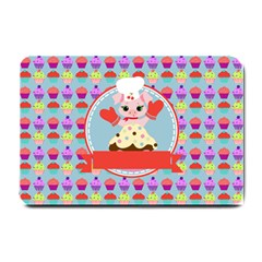 Cupcake With Cute Pig Chef Small Door Mat by creativemom